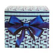 Caixa para caneca xadrez com laço - azul - pacote com 10 unidades