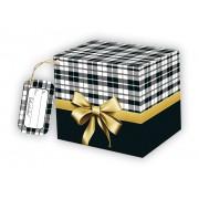 Caixa para caneca xadrez com tag - pacote com 10 unidades