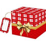 Caixa para Caneca Xadrez Vermelho com tag - pacote com 10 unidades