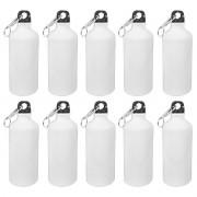 Kit 10 Squeezes branco mosquetão sublimável - 600ml com caixinha