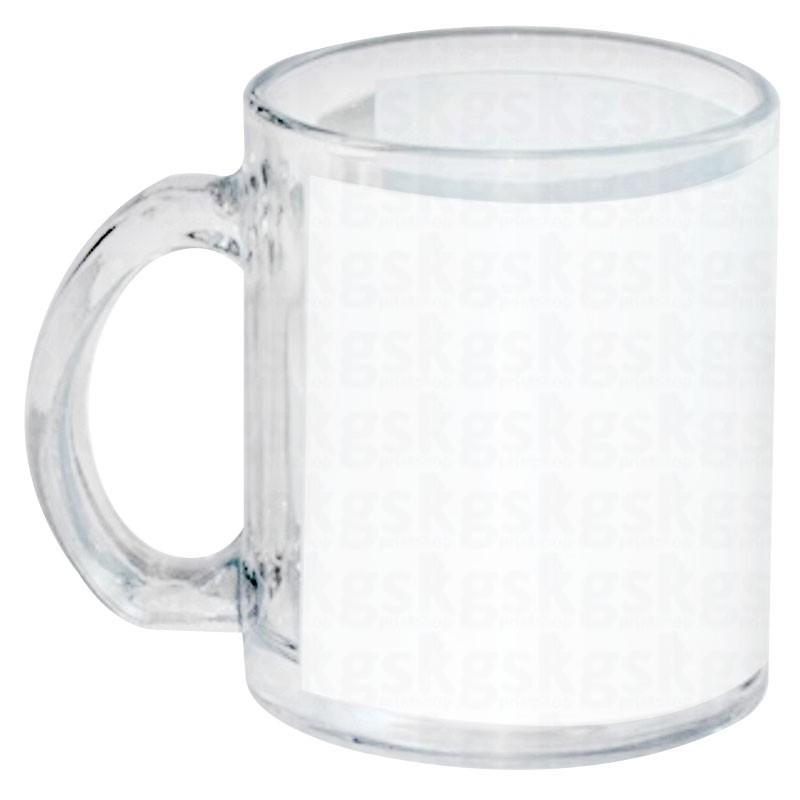 Caneca de vidro com tarja branca