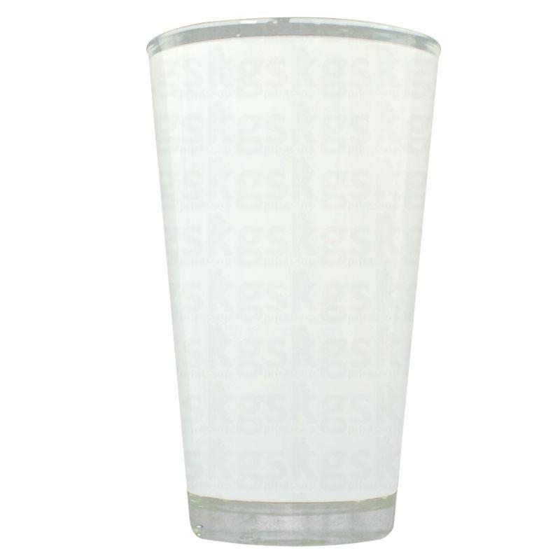 Copo de vidro cônico com tarja branca