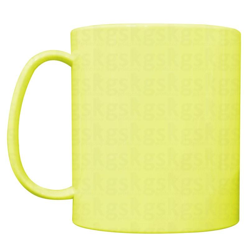 Caneca plástica colorida amarela