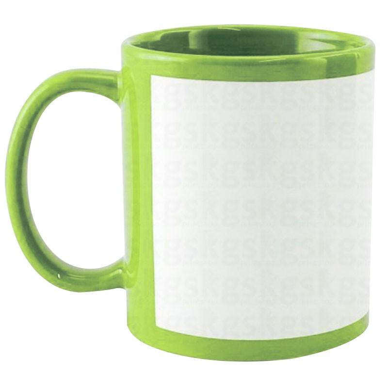 Caneca com tarja branca - verde claro