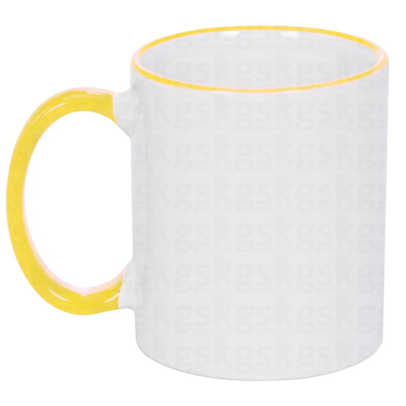 Caneca com borda colorida - amarelo