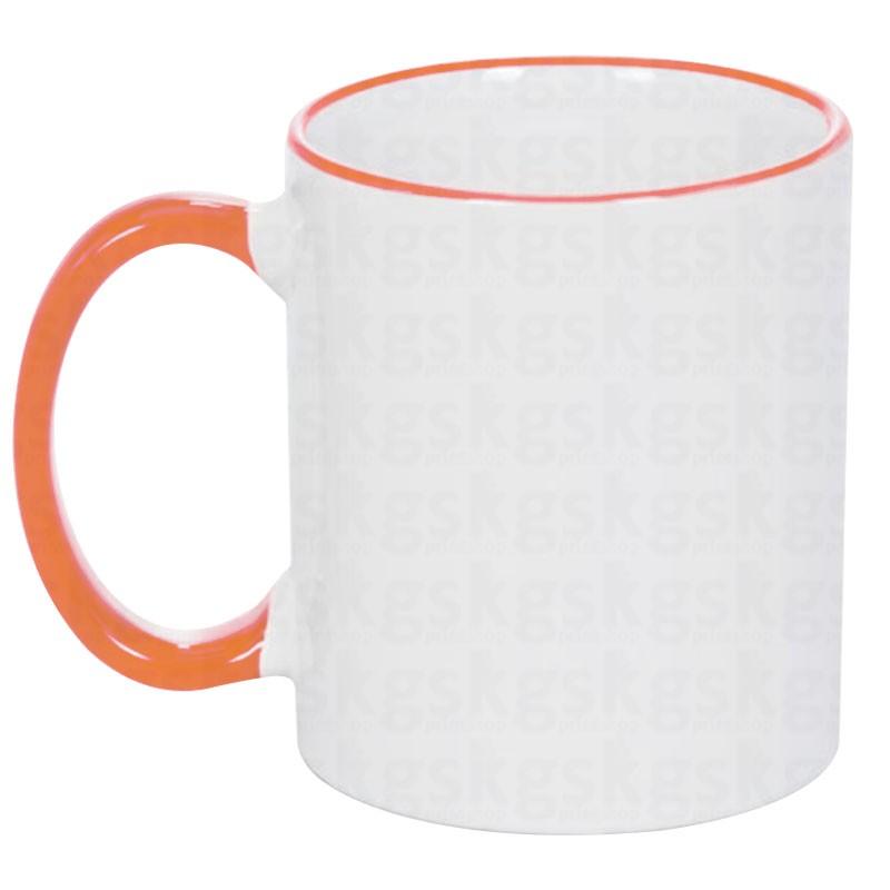 Caneca com borda colorida - laranja