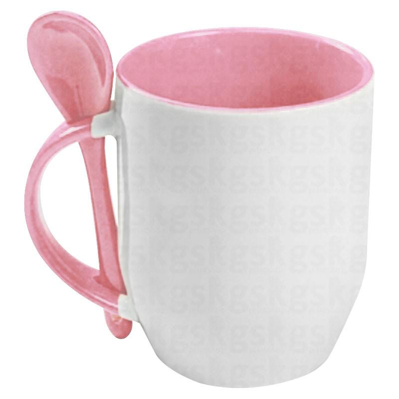 Caneca com colher - rosa