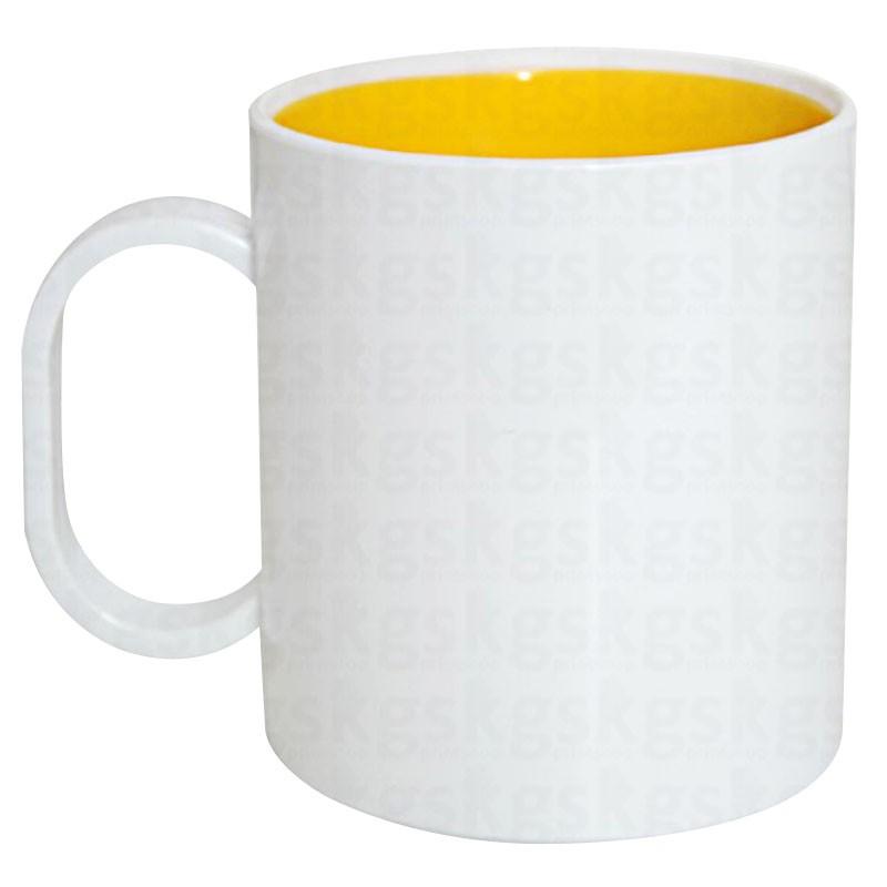 Caneca de polímero com interior amarelo