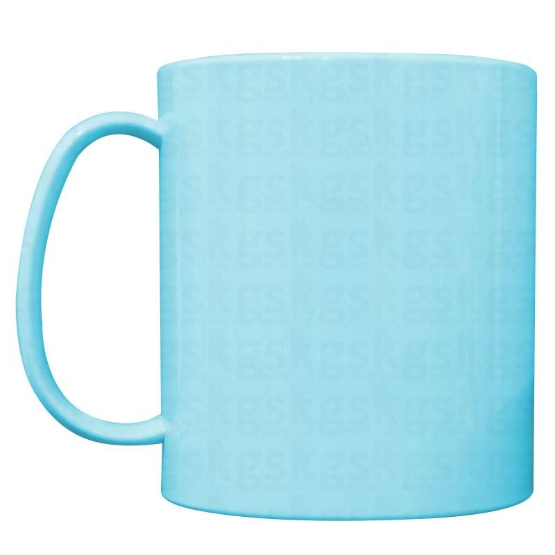 Caneca plástica colorida azul claro