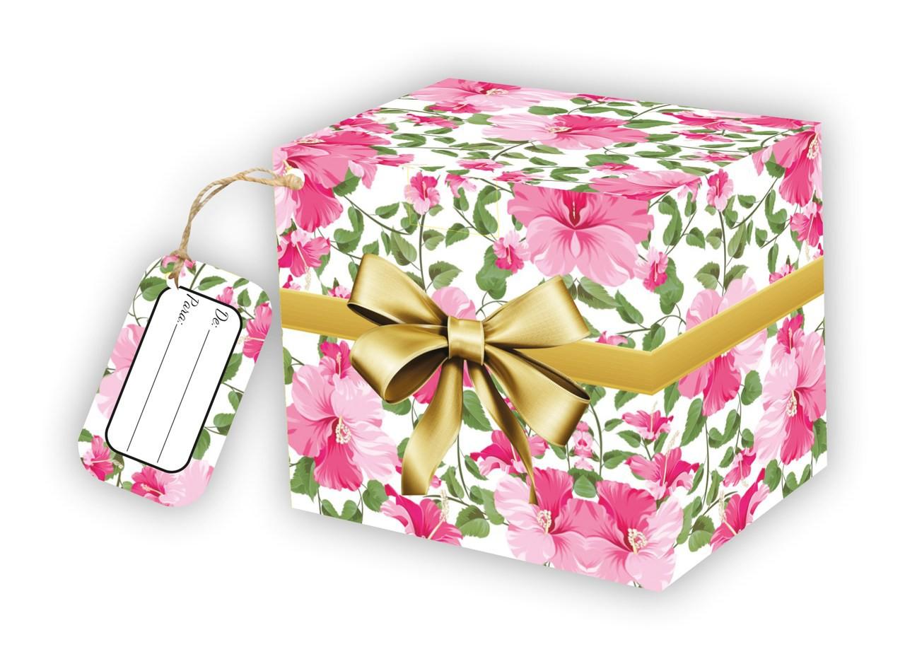 Caixa para Caneca Flores com tag - pacote com 10 unidades