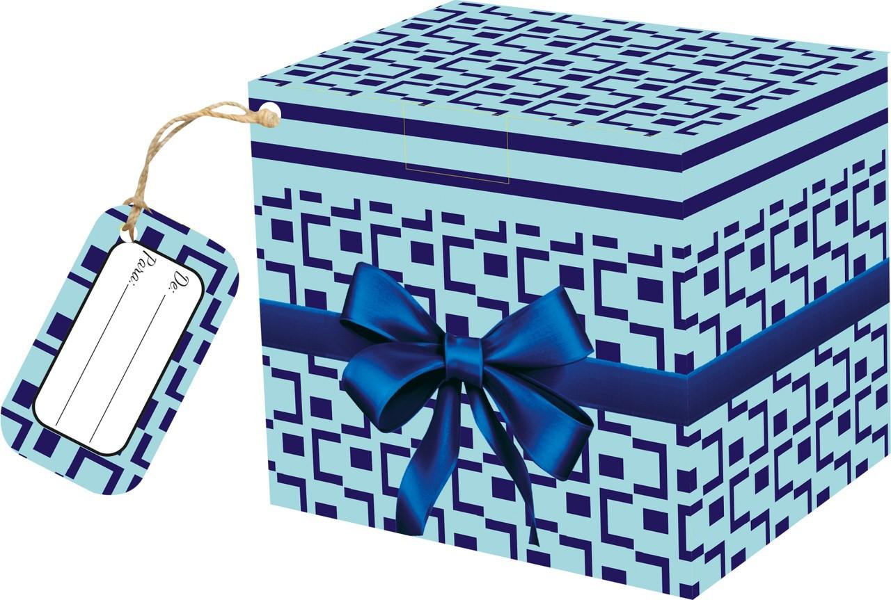 Caixa para Caneca Laço Azul com tag - pacote com 10 unidades