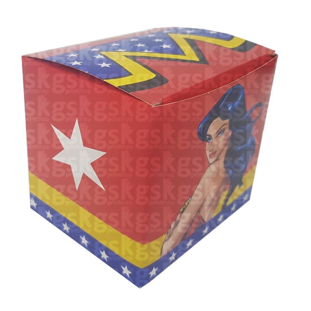 Caixa para caneca mulher maravilha - pacote com 10 unidades