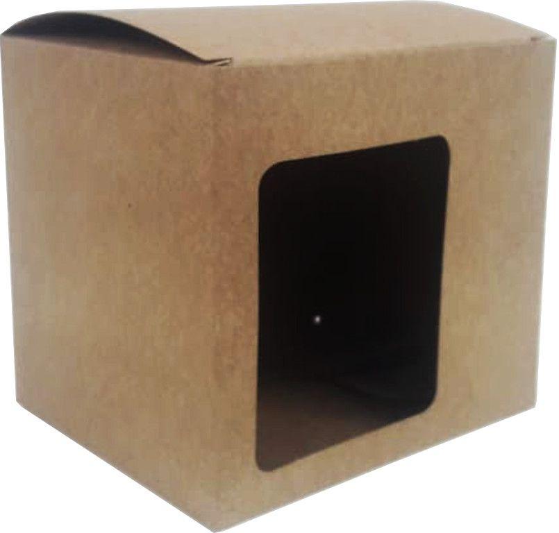 Caixa para caneca parda c/ visor - Pacote com 10 unidades
