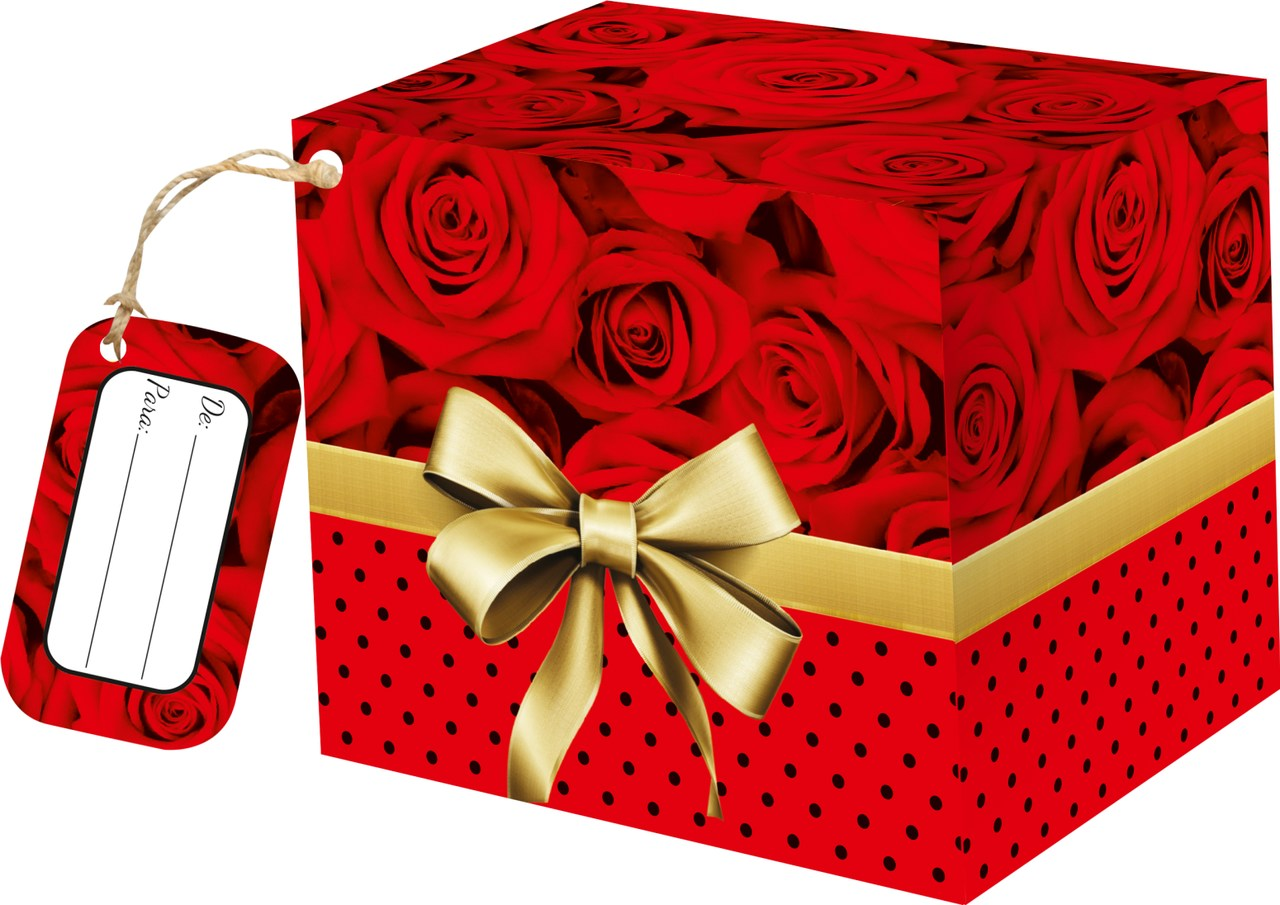 Caixa para caneca Rosas Vermelhas  com tag - pacote com 10 unidades