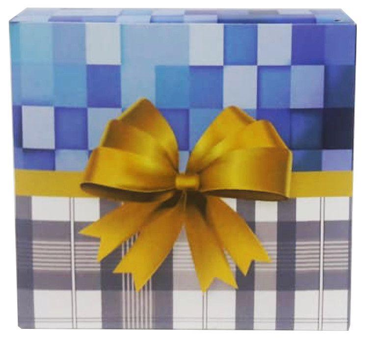 Caixa para caneca xadrez azul M2 - pacote com 10 unidades
