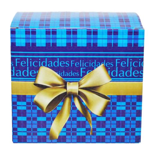 Caixa para caneca xadrez azul - pacote com 10 unidades