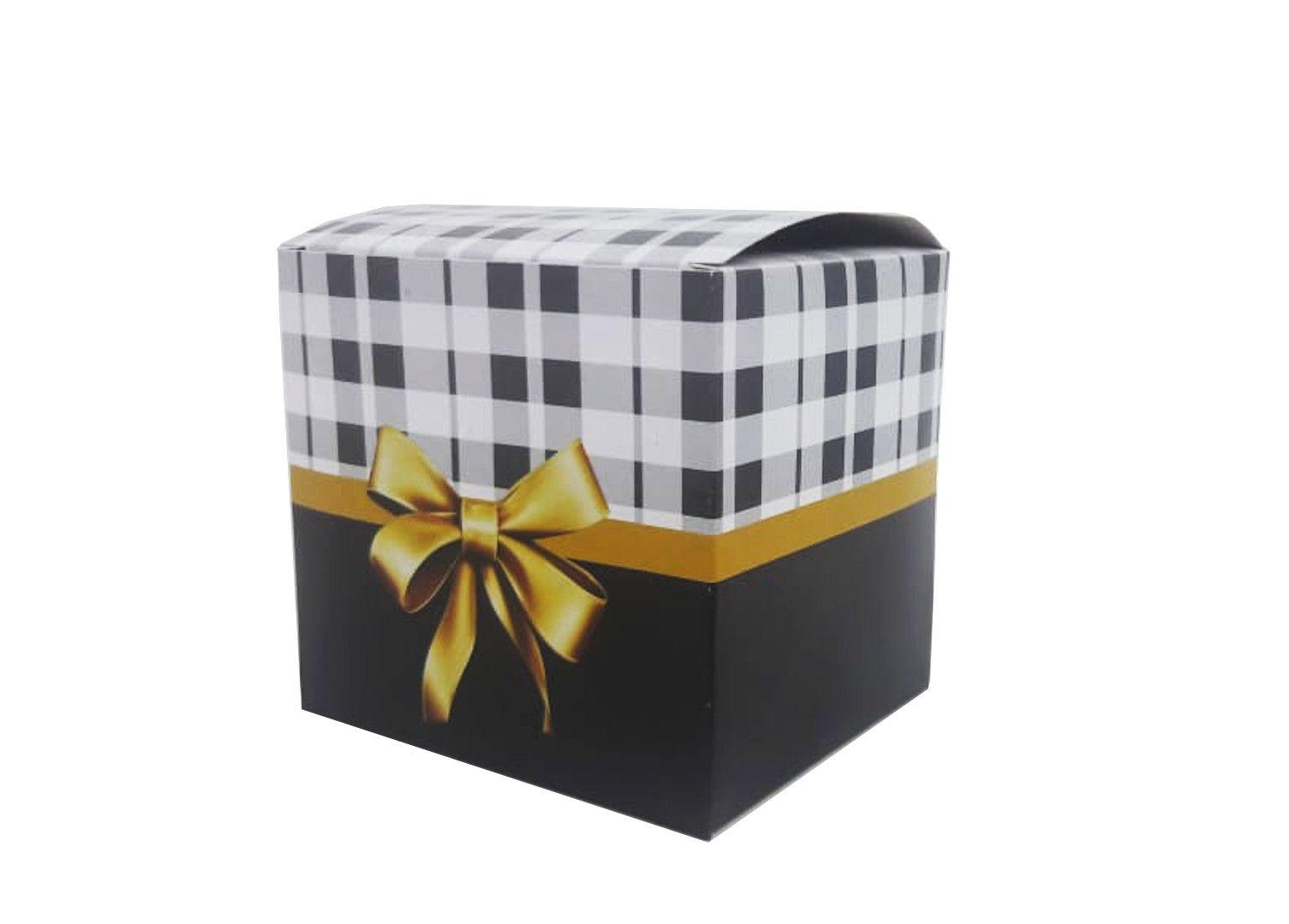 Caixa para caneca xadrez M2 - pacote com 10 unidades