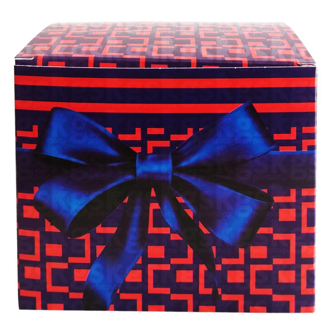 Caixa para caneca xadrez vermelho com laço - pacote com 10 unidades