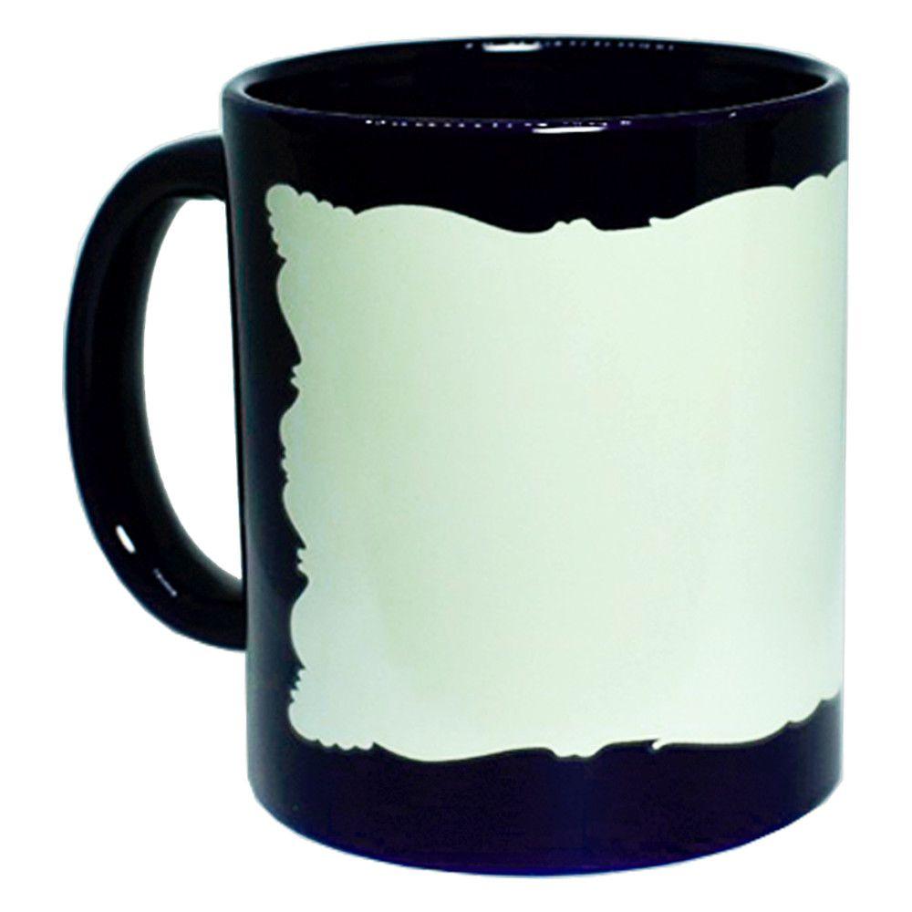 Caneca Cerâmica c/ Tarja Moldura Fluorescente 325ml