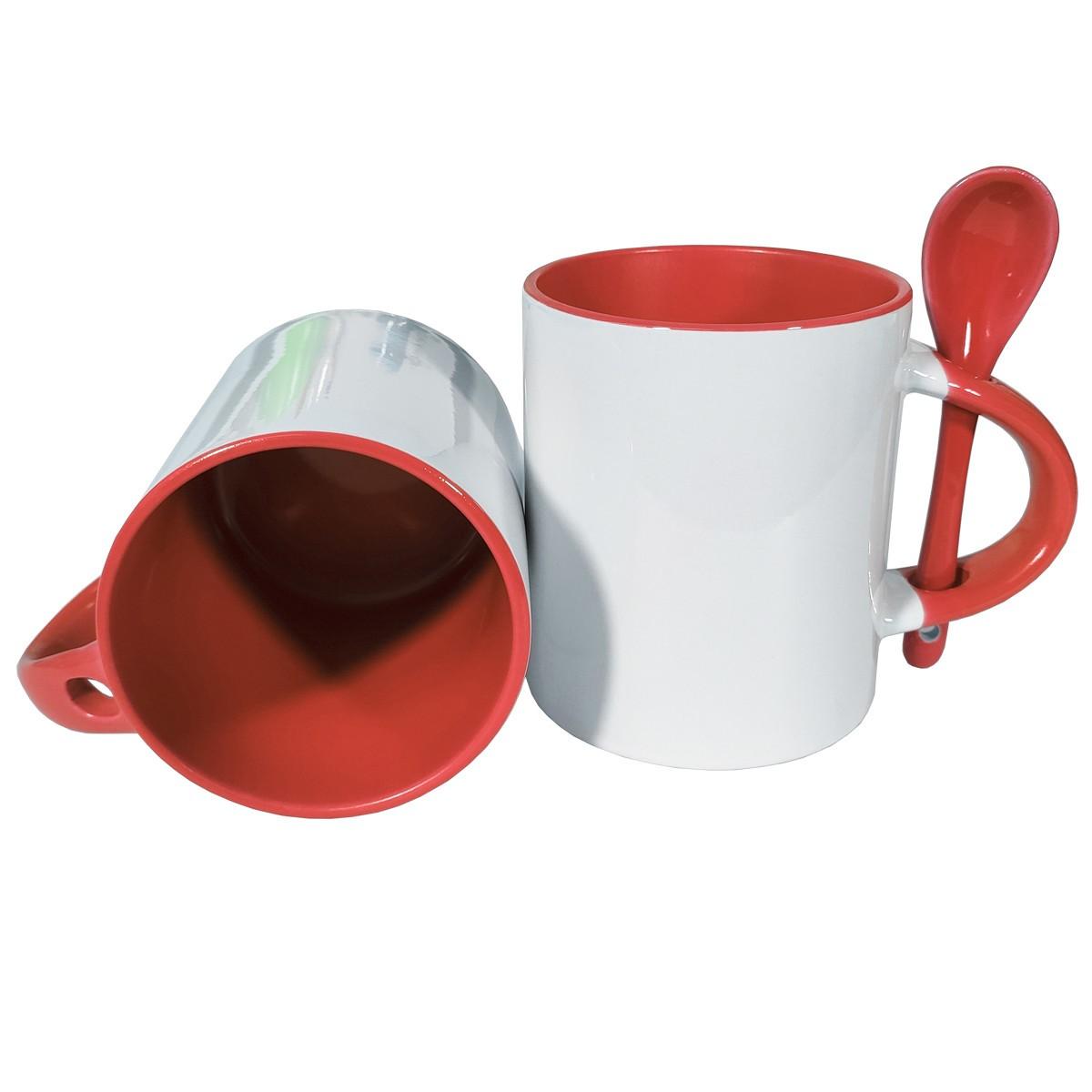 CANECA COM COLHER E INTERIOR COLORIDO - Vermelha