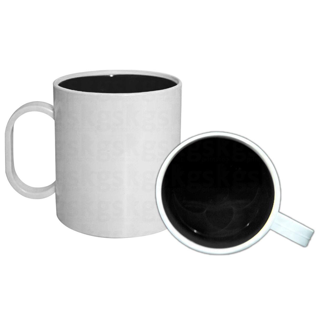 Caneca de polímero com interior preto