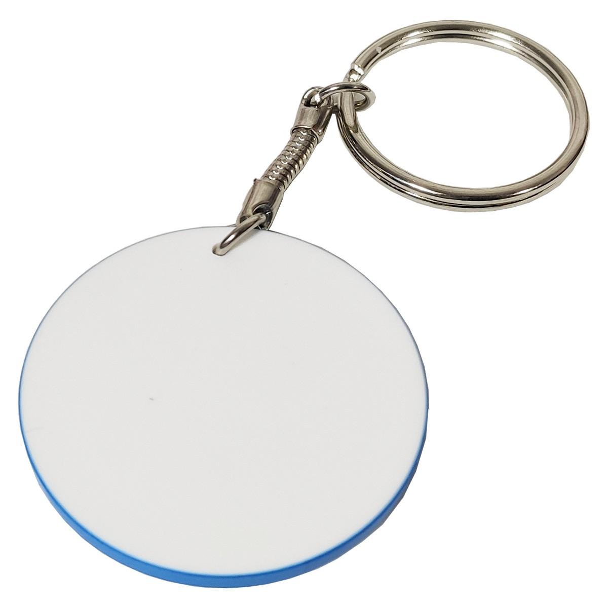 Chaveiro de polímero redondo com borda azul