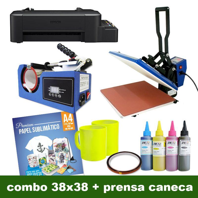 COMBO - 38X38 BOCA DE JACARÉ AZUL + PRENSA DE CANECA COMPACTA