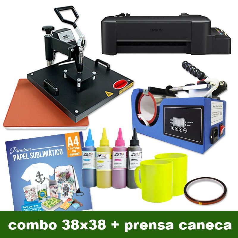 COMBO - PRENSA GIRATÓRIA 38X38 + PRENSA DE CANECA COMPACTA
