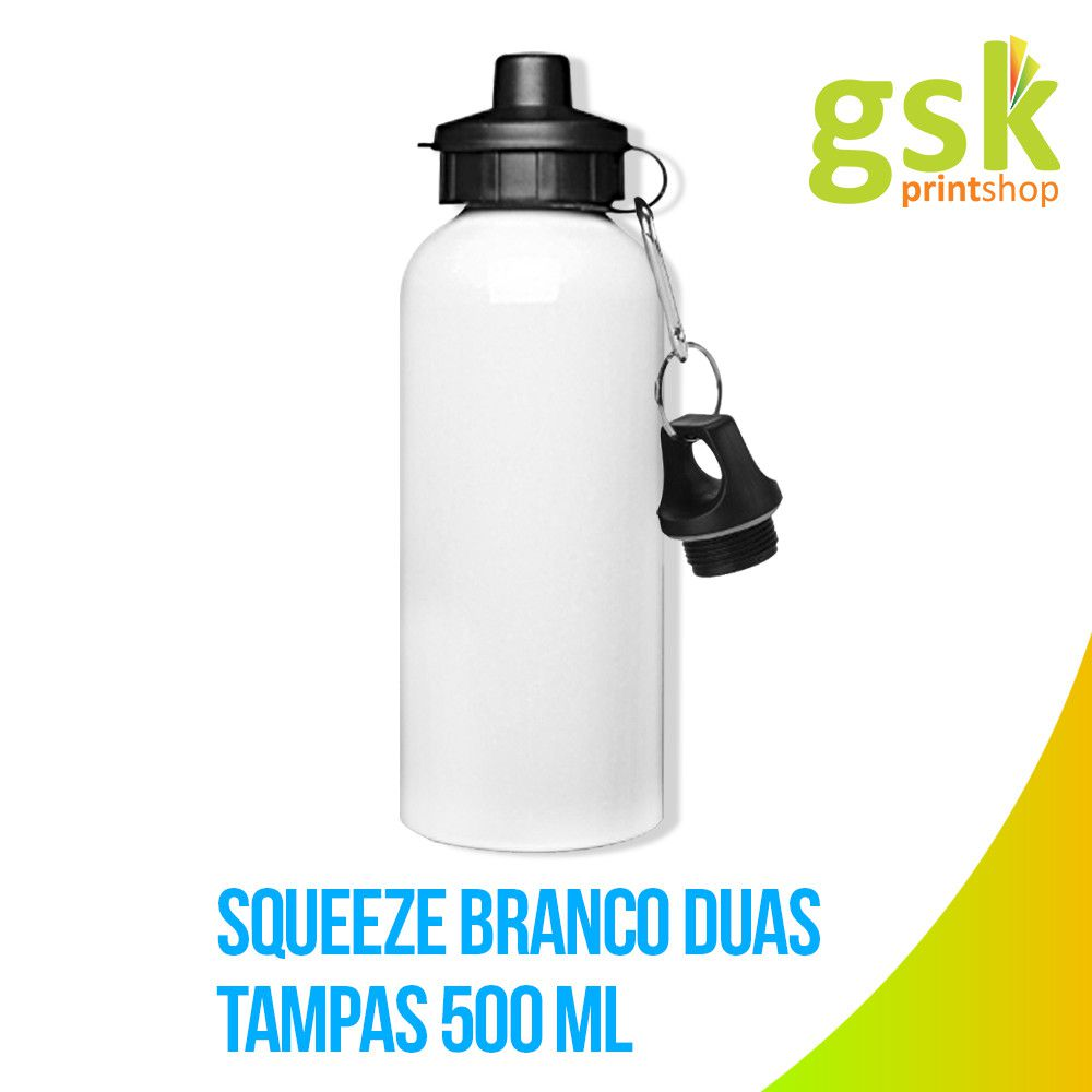 Kit 10 Squeeze Aluminio Branco 2 Tampas P/ Sublimação 500ml