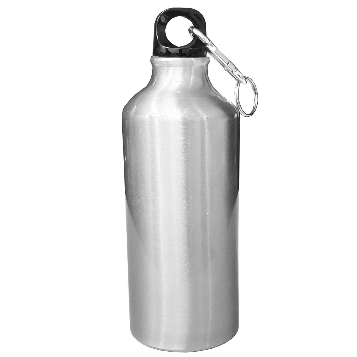 Kit 10 Squeezes prata mosquetão  600ml - sublimável  / com caixinha individual