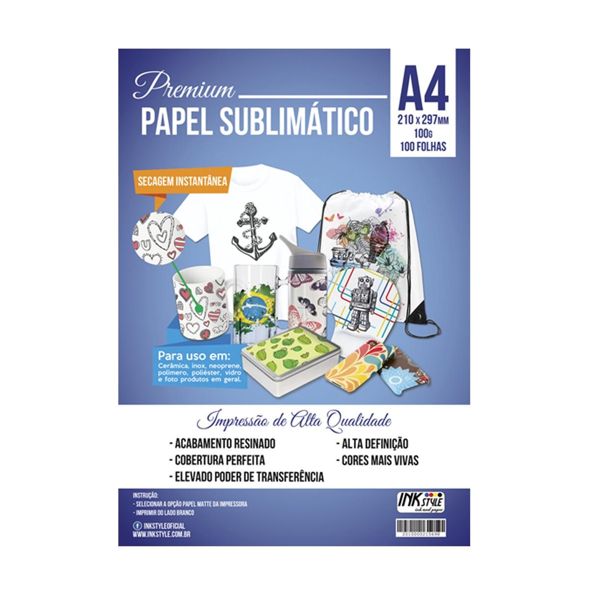 Kit Tinta Sublimatica + 1 Papel Sublimatico