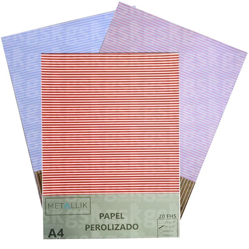PAPEL PEROLIZADO LISTRA FINA -  A4 180G
