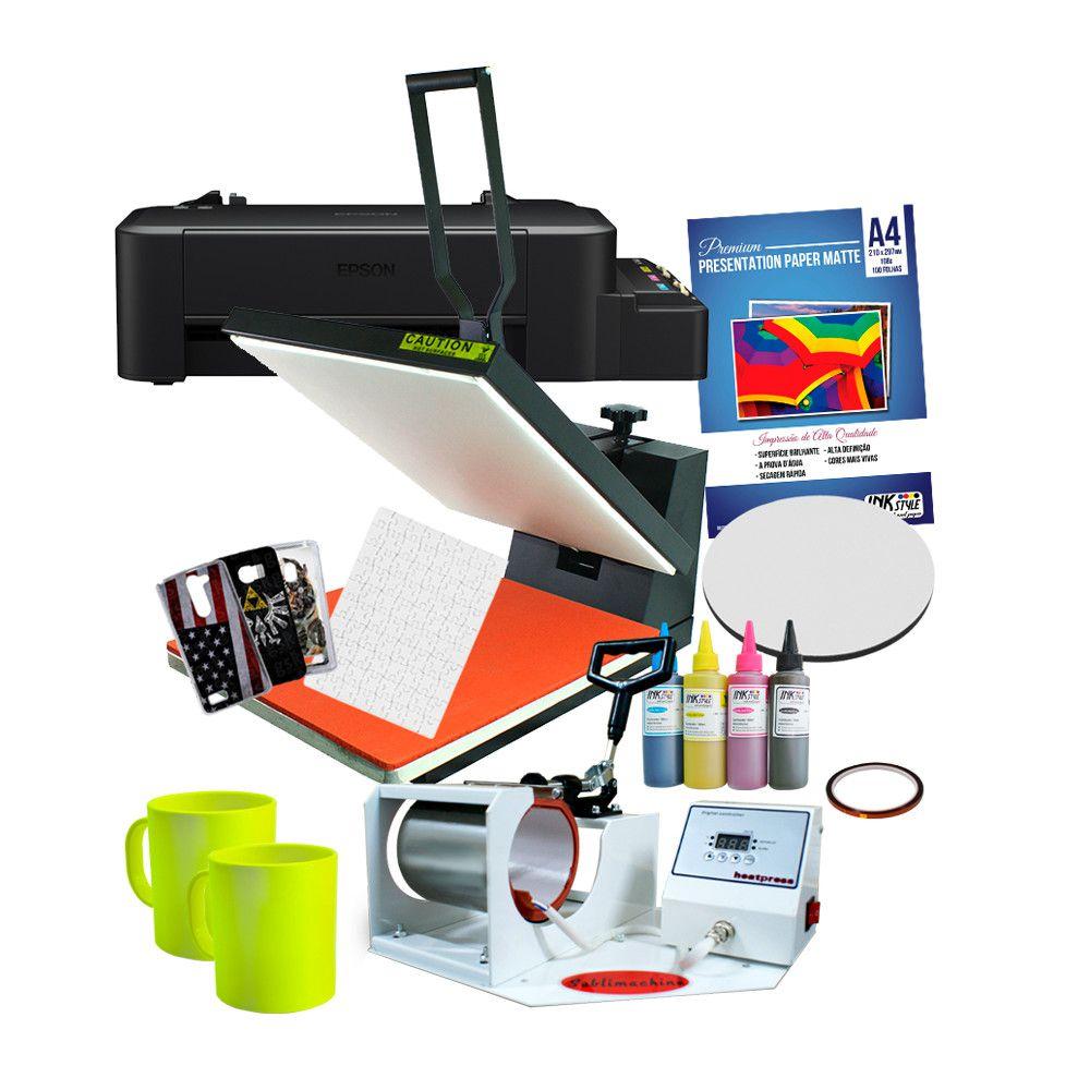 Prensa Plana 40*50 + Prensa de caneca tradicional + Impressora L120