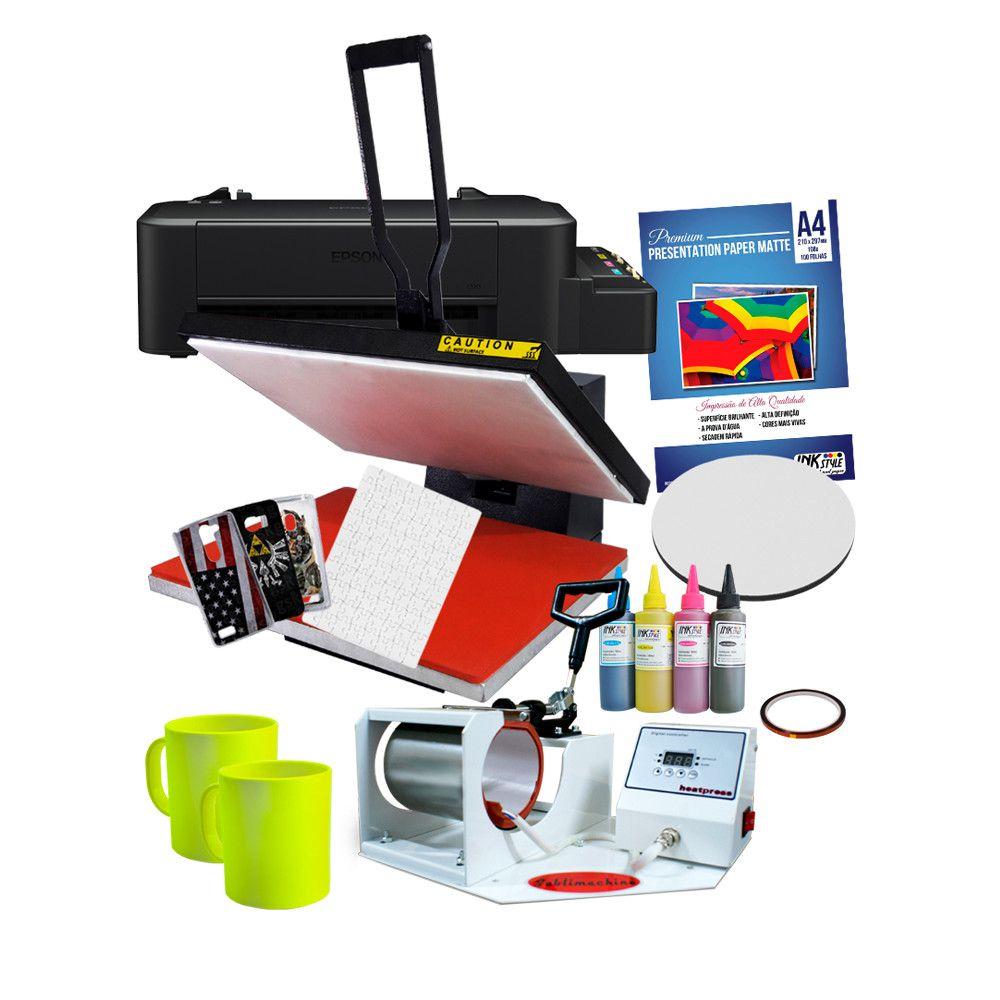 Prensa Plana 40*60 + Prensa de caneca tradicional + Impressora L120