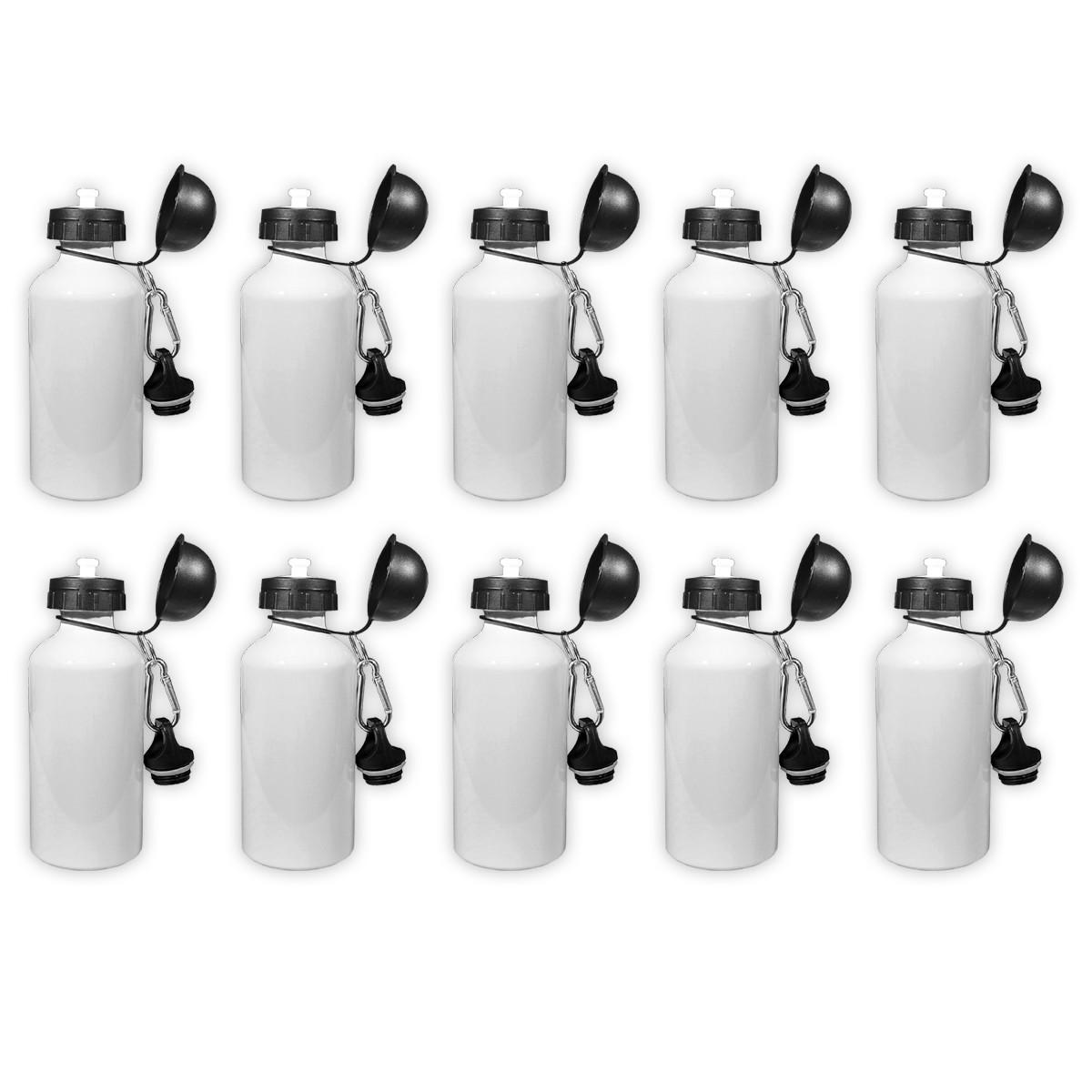 Kit 10 Squeezes branco 500ml sublimável bolinha - duas tampas com mosquetão