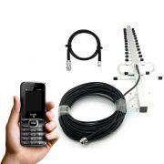 Antena celular rural 15 dbi 850 a 1900 mhz + cabo de 15 metros + celular lemon mobile lm-754 dual chip 2g
