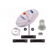Antena Parabolica Digital Hd C/ 3 Receptor Midiabox Multiponto 190 Cm
