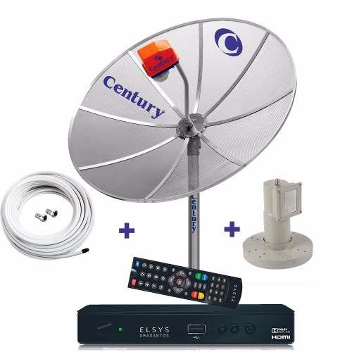 Antena Parabolica Century + Receptor Elsys Duomax Analógico, Digital E Hd