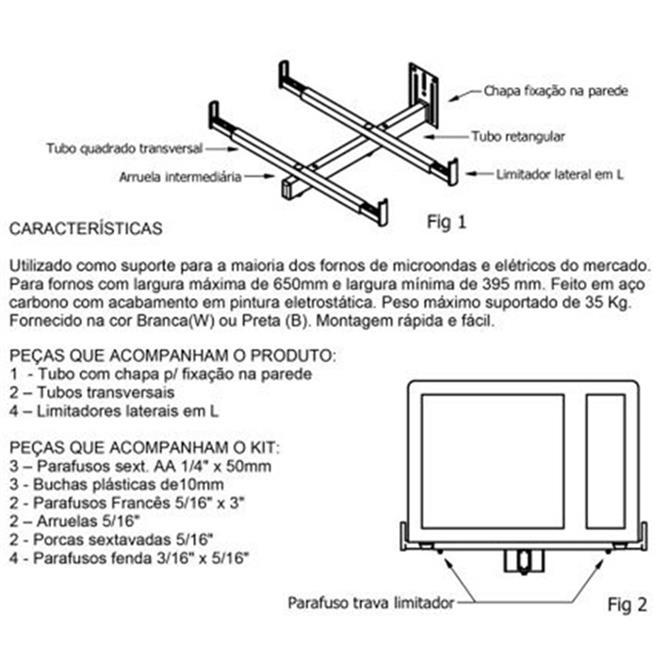 Suporte Universal Para Microondas forno elétrico branco até 35 kg
