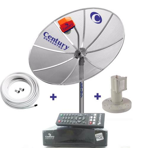 Completa Antena Parabolica Century + Receptor + Lnbf + Cabo