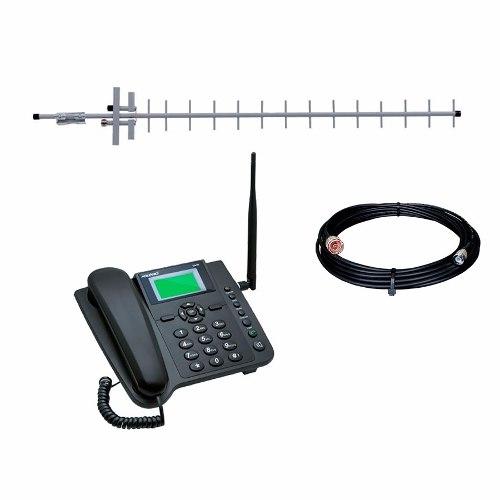 Kit Celular De Mesa Rural Aquario Quadriband + Antena 15dbi