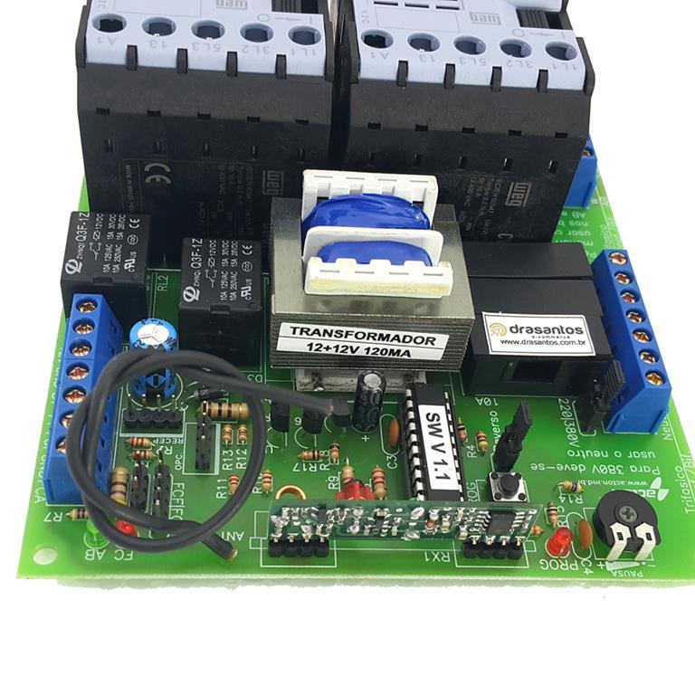 Central Placa Contatora Motor portão eletrônico Industrial Deslizante ou Basculante 433Mhz