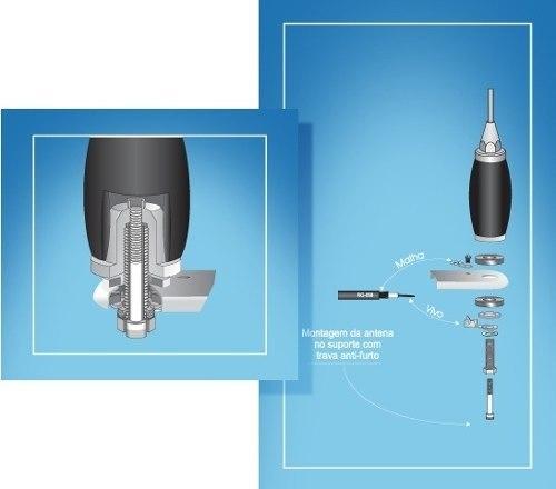 Antena Px 270 cm para Caminhão B-2003p Aquario + kit Parafuso antifurto +  Prolongador 60 cm
