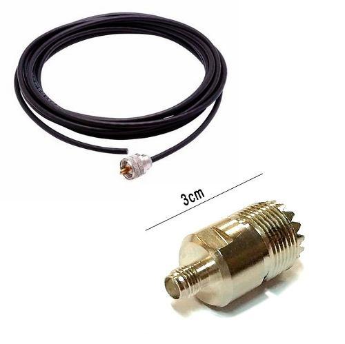 Cabo Kit Rg-58 para Antena Px usado em Caminhão com 5,5 metros de cabo + Adaptador para rádio ht Baofeng