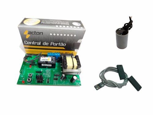 Kit Central Placa Para Motor Portão + Capacitor + Fim De Curso