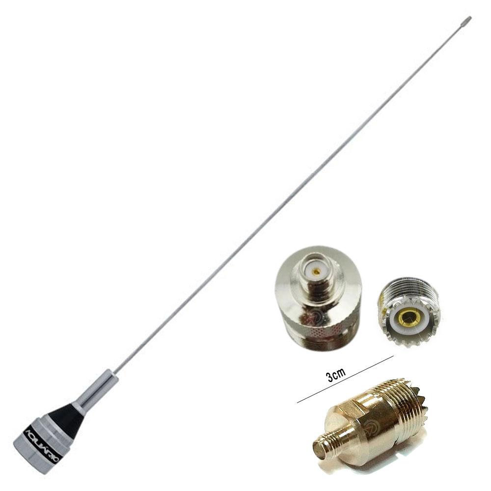 Kit Antena VHF UHF M-300c Aquário + Adaptador UHF Fêmea / SMA Fêmea para Baofeng