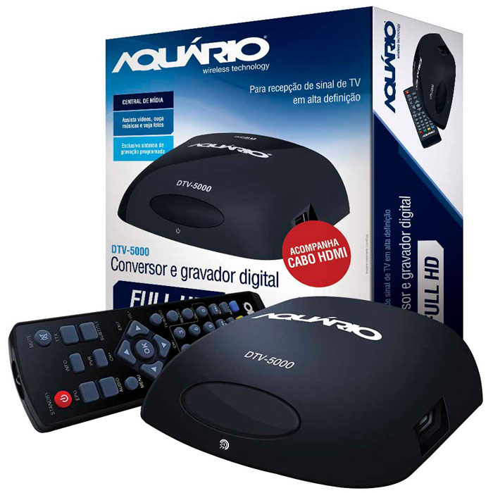 Conversor Digital e Gravador Para Tv DTV-5000 Aquario