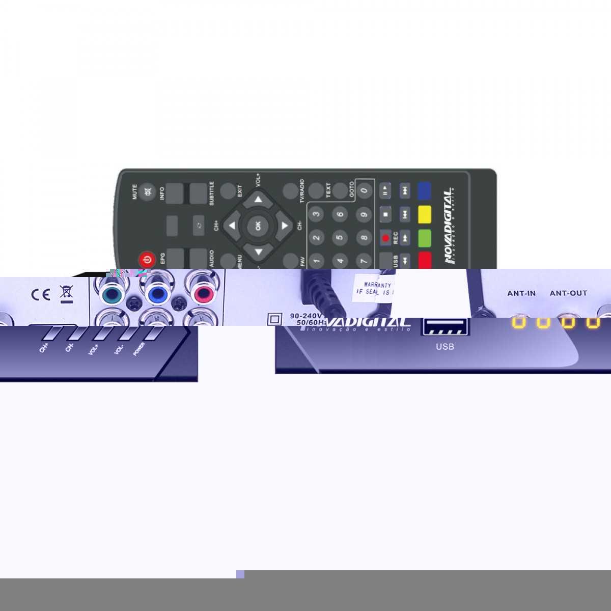 Kit Conversor Gravador Digital HDTV Full HD Antena Interna DTV-100 Aquário