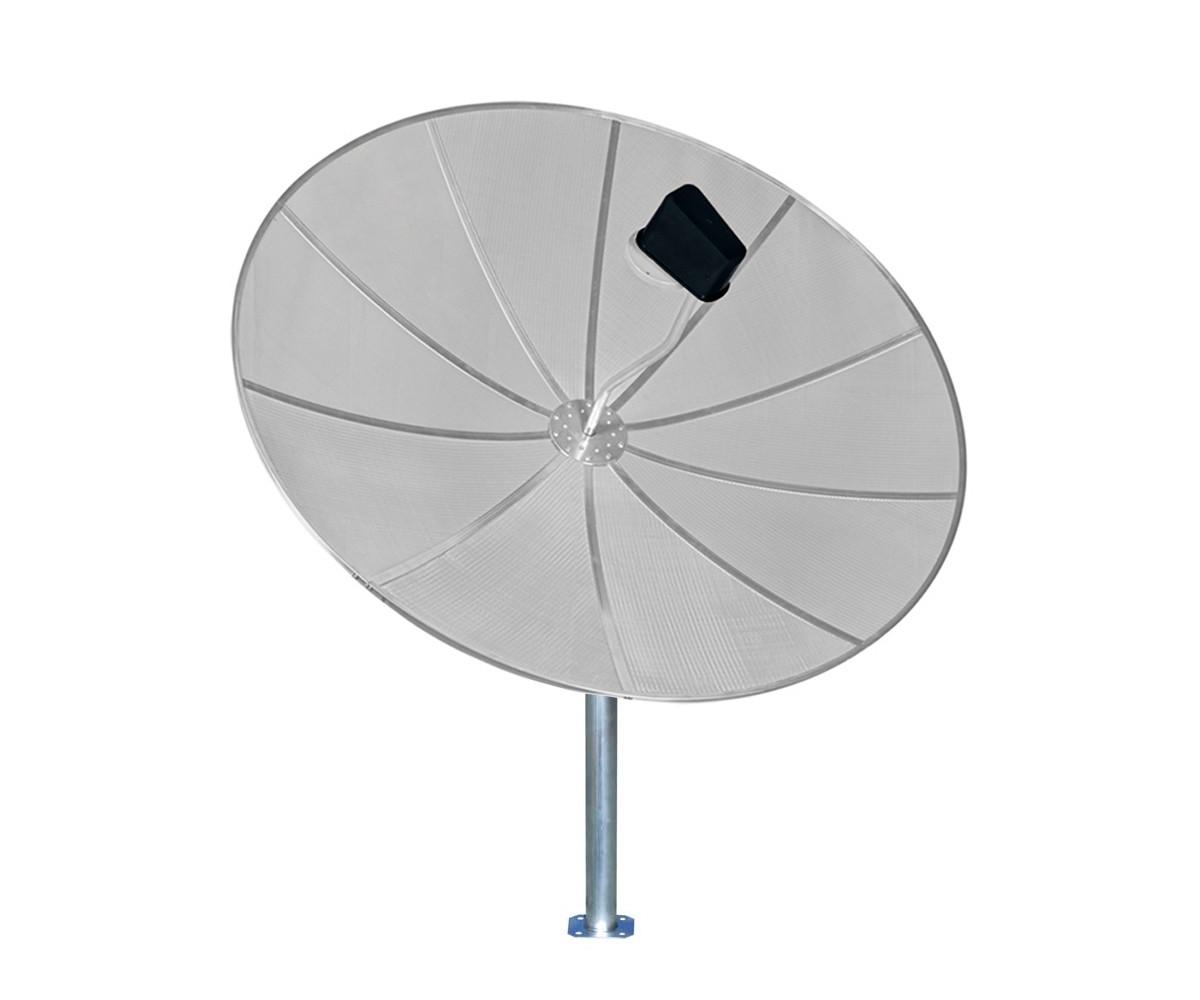 Kit Antena Parabólica Digital HD Via Satélite 170cm 1,70m LNBF Multiponto e Cabo 15m