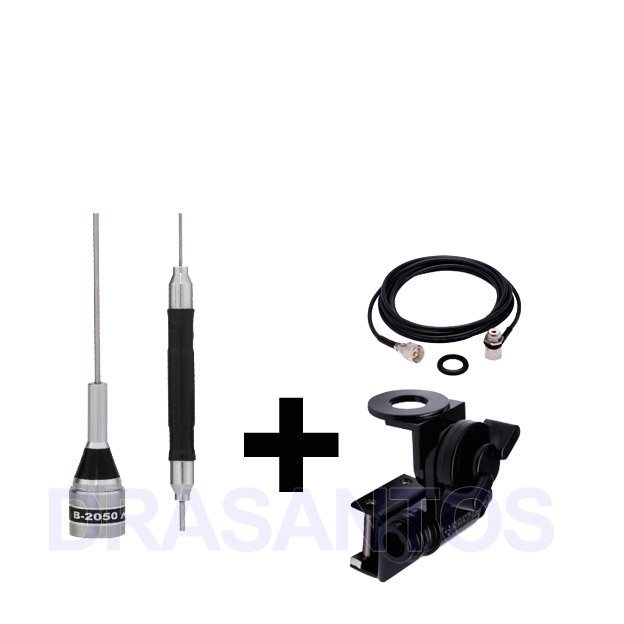 Antena para radio movel px aquario b-2050 + suporte + cabo